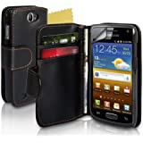 Black PU Leather Wallet Case Cover For The Samsung Galaxy W I8150 With Screen Protector Film And Polishing Cloth