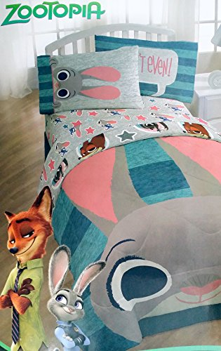 Disney Zootopia 4 Piece Bedding Set Comforter and Sheets (Twin Size)