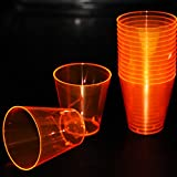 Tiger Chef Hard Plastic 2-Ounce Shot/Shooter Glasses, Wedding Party Bar Shot Glasses, 60-Count Neon Orange