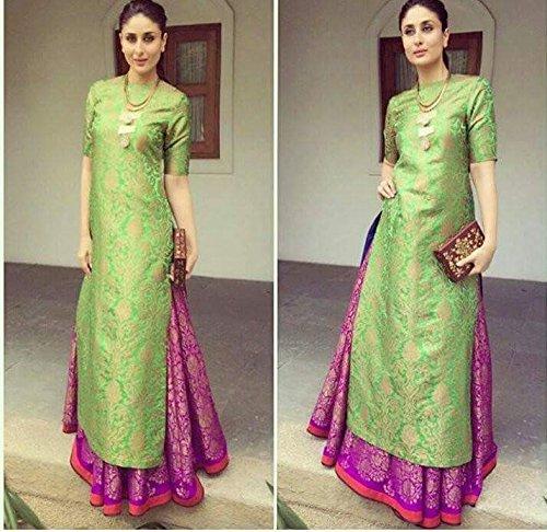 new bollywood designer kareena kapoor green jacquard lahenga dress material