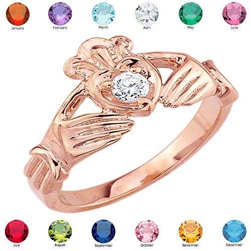 Women'S Fine 10K Rose Gold Custom Personalized Cz Heart Birthstone Claddagh Ring, Size 6.25