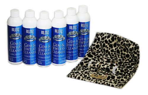 6 Pack - (8oz) BLITZ Concentrated Jewelry Cleaning Solution + FREE Leopard Plush Jewlery Roll- Ideal for use with Ultrasonic Cleaners
