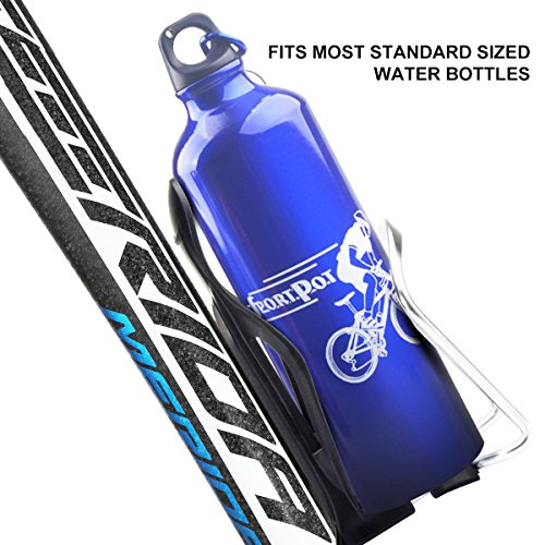 M-BLANC Adjustable Aluminum Alloy Bike Bicycle Handlebar Water Bottle Cage Bicycle Bottle Holder for Road or Mountain (Silver)