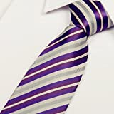 Laho Mens Handmade Silk Necktie with Cufflinks Pocket Square and Tie Clip 3'' (8cm)