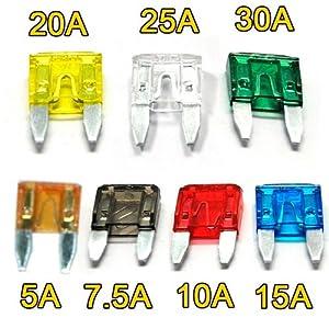 BESTEK® Autosicherungen Mini KFZ-Sicherungen Set 7 Amper Typ: 5A,7.5A,10A,15A,20A,25A,30A (120 Stücke)
