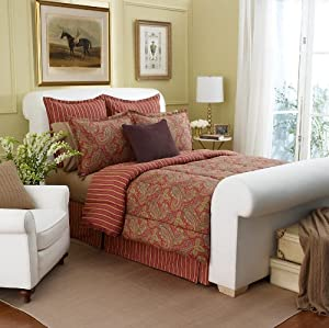 Lauren by Ralph Lauren Edmonton Paisley Red 4-Piece QUEEN Comforter Set
