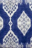 Island Ikat Blue and White Indoor Outdoor Tablecloth (60x84 Inch Oblong)