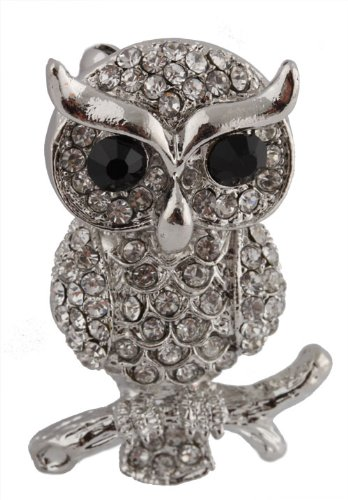 Ladies Silver  Clear Iced Out Owl on Branch Brooch