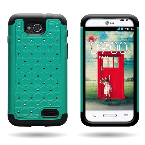 Wireless Central Hybrid Dual Layer Diamond Case For Lg Optimus L90 D415 - Hard Teal Plastic + Soft Black Silicone