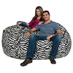 Cozy Sack Bean Bag Chair Zebra Print - Large 6