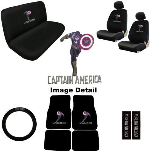 Captain America Marvel Comics Auto Accessories Interior Combo Kit Gift Set - 15PC