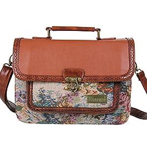 Ecosusi Women Vintage Leather Satchel Shoulder Messenger Bag Briefcase Handbag