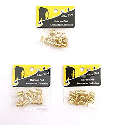 8 mm GOLD 36 pieces Braiding Hair Accessories Decoration Dread Lock Metal Cuffs Beads Dreadlocks