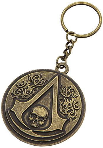 Assassin's Creed IV 4 Black Flag Skull Crest Logo Portachiavi Rotondo Metallo