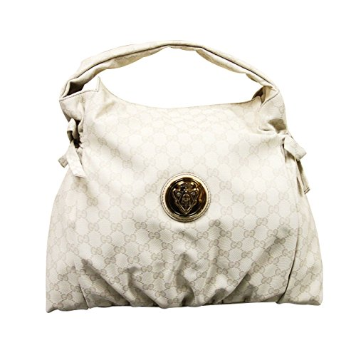Gucci Cream Whites GG Canvas Hysteria Medium Top Handle Bag Handbag 286307
