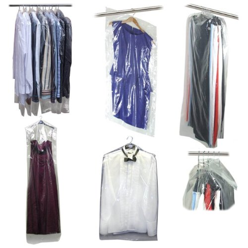 Hangerworld Pack of 20 Clear Polythene Long Gown Dress Garment Clothes Cover Bags - 42 Inches 80 Gauge (Disposable Plastic Garment Bags compare prices)