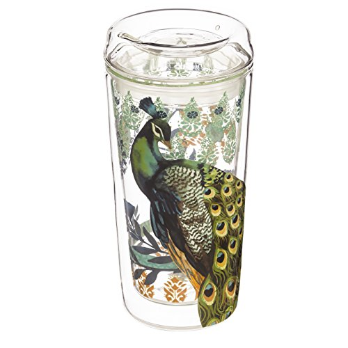 Cypress Home Proud Peacock Double Wall Glass Travel Coffee Cup with Lid