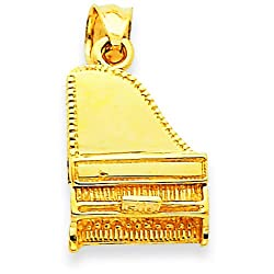 14K Yellow Gold 3D Grand Piano Charm Music Pendant