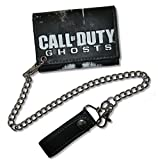"""Bioworld Adult Call of Duty """"Ghosts"""" Black Long Chain Trifold Wallet"""