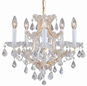 Crystorama Lighting 4405-GD-CL-SAQ Chandelier with Swarovski Spectra Crystals, Gold