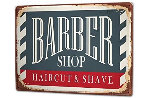 Cartello Targa in Metallo XXL Retro Negozio di barbiere