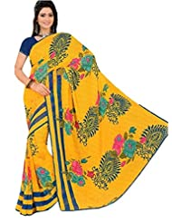 Printed Yellow Saree With Blue Blouse