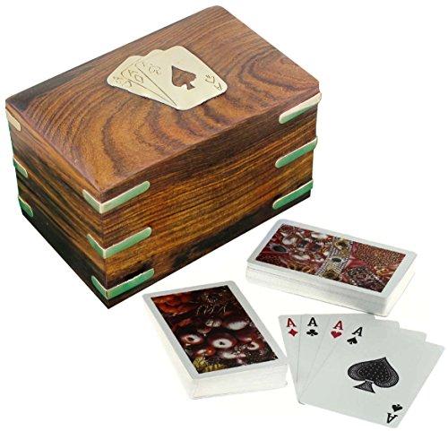 Titolare della carta in legno per carte da gioco - 2 mazzi di carte da gioco di qualità superiore - decorazioni di carte da gioco - 7.62 x 12.19 x 7.62 cm