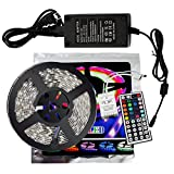 xtf2015 Led Strip Lighting 5Meter 16.4ft Waterproof Flexible Color Changing RGB SMD5050 300 LEDs Light Strip Kit + 44 Key Remote Controller + 12V 5A Power Supply