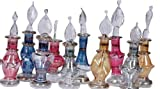 LOT / Set of 10 tiny Mouth blown EGYPTIAN PERFUME BOTTLES Pyrex Glass