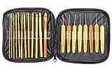 竹 製 かぎ針 レース 編み針 20本 セット 収納 ケース 付き サイズ 種類 たくさん 便利
