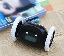 ZHIKE Clocky Alarm Clock on Wheels, Novelty Running Alarm Clock Black Color (black)