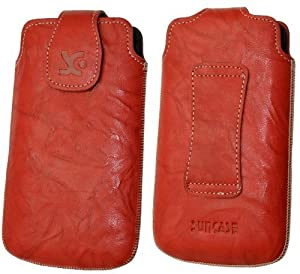 Original Suncase Original Tasche für HTC One V wash-rot