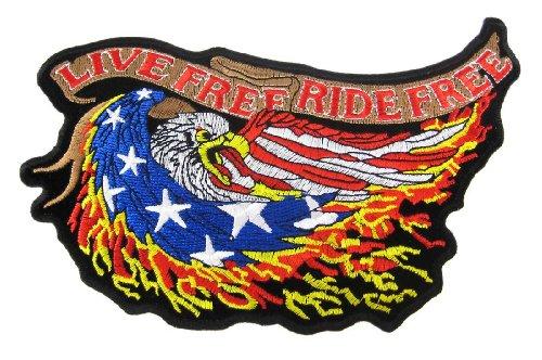 LIVE FREE RIDE FREE American Eagle Biker Vest Patch