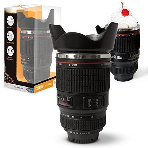 Twitfish-Camera-Lens-Mug-Drinking-Mug-Taza-similar-Objectif-Canon-en-escala-1-1-de-acero-inoxidable-en-el-interior