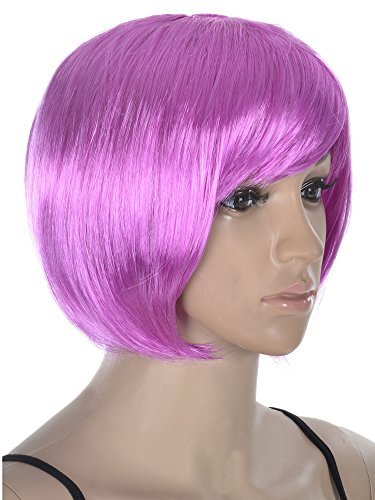 Cute Short Bob Full Straight Hair Wigs - Purple