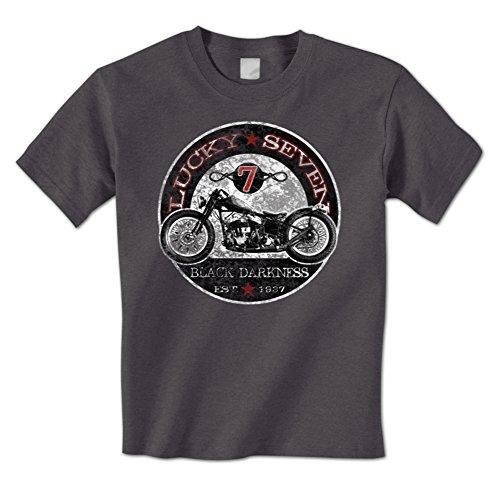Lucky Seven 7 Black Darkness Est. 1937 - Vintage Chopper Mens T-Shirt 0