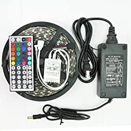 Vinus@ 16.4-Feet SMD 5050 5M Waterproof 300LEDs RGB Flexible LED Strip Light Lamp Kit with 44 Key IR Remote Controller W/ 12V 5A Power Supply Adapter