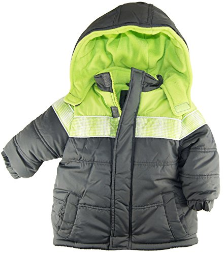 Ixtreme Baby Boys Infant Puffer Hooded Winter Jacket, Charcoal, 18M front-786891