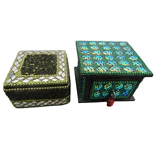 Indian Handmade Made Jewellery Boxes Vintage Style Antique Home Décor Table Top Set Of 2 Pcs Handicrafted Jewellery...
