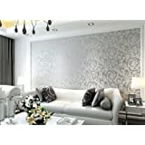 Sliver high quality 10 meter (32.8 feet) Damask Victorian Embossed Wallpaper roll (Brilliant Rooms Brand) DOUBLE ROLL