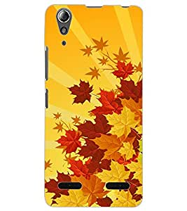 ColourCraft Beautiful Leafs Design Back Case Cover for LENOVO A6000 PLUS