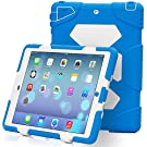 iPad Case,iPad 5 Case,iPad Air Case,ACEGUARDER [[Heavy Duty]]Case - *Waterproof* *Rainproof* *Shockproof* Kids Proof Case for iPad 5/iPad Air [Gifts Outdoor Carabiner + Whistle + Handwritten Touch Pen] (Aceguarder Brand) (Blue/White)