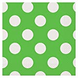 """Polka Dot Party Napkins, 6.5"""" x 6.5"""", Lime Green, 16 Count"""