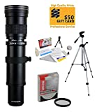 Opteka 420-1600mm f 8.3 HD Telephoto Zoom Lens with 62mm HD UV Filter and 54