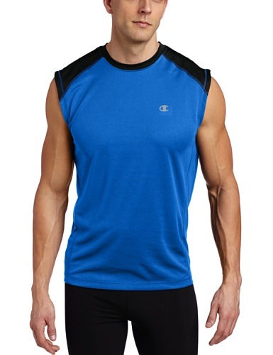 Champion Men's Doubledry Training Muscle Tee, Team Blue/Black, Medium