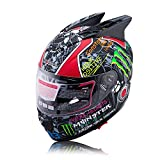 モンスターエナジーヘルメットバイク フルフェイス バイクヘルメット おしゃれかっこいい大きいサイズ XXL58CM-61CM
