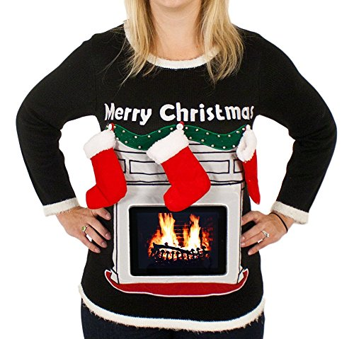 Ugly Christmas Sweater Women 39 S Lighted Fireplace Christmas Sweater With Tablet Pouch In Black