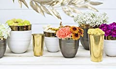 Glass Votive Candle Holder, Cylindrical Vase, 4 inches, Gold, 4 pack