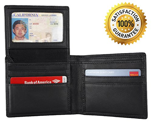 *Special Holiday Sale* Rfid Blocking Security Wallet + Genuine Leather Small & Slim Black Bifold For Men + Protect Your Id Credit Card + Bi-Fold / Trifold Wallets With Latest Rfid Block Technology By Leopardd [9 Slots] Stop Electronic Pick Pocketing Now
