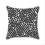 Cotton Linen Throw Pillow, Decorative Pillows.? Random Dots - Black Cotton Linen Square Decorative Throw Pillow Case Cushion Cover 18 x 18 Inch